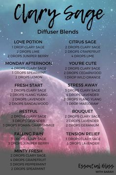 essential oil diffuser blend for nausea essential oils for anger and anxiety doterra Clary Sage Essential Oil, Essential Oils Guide, Essential Oil Uses, Doterra Essential Oils, Clary Sage Doterra, Essential Oils For Sleep, Doterra Blends, Cedarwood Essential Oil, Limpieza Natural