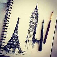 Eiffel tower and Big Ben drawing Amazing Drawings, Cool Drawings, Amazing Art, Amazing Things, Big Ben, Desenho Pop Art, Art And Illustration, Drawing People, Belle Photo