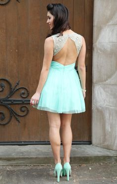 seafoam party dress with keyhole back accent and beaded straps $76.50