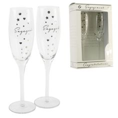 AMORE ENGAGEMENT CHAMPAGNE FLUTES GLASSES ENGAGEMENT GIFTS