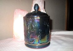 VINTAGE BLUE Purple Antique CARNIVAL GLASS Lidded CANDY DISH Canister Grapes