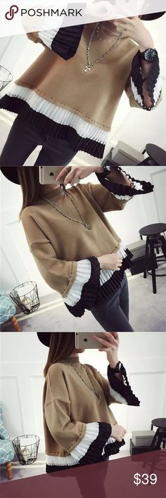 "Swing knit sweater Swing knit sweaterBoutique Khaki. Material: acrylic. ONE SIZE. Length: 23.6"", bust -43"", sleeve length-14.2"", shoulder- 22 Sweaters"