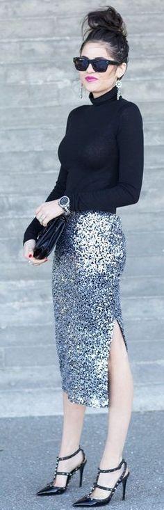 #september #trending #outfits | Black Sweater + Silver Sequin Skirt
