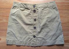 "J Crew 8 Cotton Chino 16"" Khaki Beige Skirt Button Up Front Belt Loops"