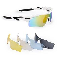 FiveBox Polarized UV Protection Sports Glasses Cycling Wrap Sunglasses Goggle with 5 Interchangeable Lenses Unbreakable for Riding Driving Fishing Running Golf And All Outdoor Activities With Retail PackageBlack And White >>> You can find out more details at the link of the image.