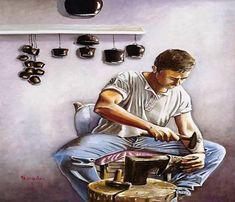 Ζωγραφική με το στόμα και το πόδι - Flowmagazine Painting, Style, Swag, Painting Art, Paintings, Painted Canvas, Outfits, Drawings