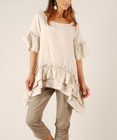 Another great find on #zulily! Beige Ruffle Linen Sidetail Tunic by LIN nature #zulilyfinds