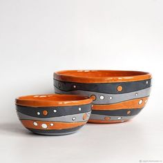 Uneven stripe and dot bowls in two sizes - 20 cm and см
