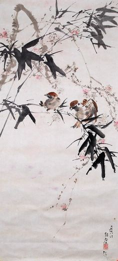 (North Korea) A bamboo and sparrows by Jeong Chang-mo ). Korean Painting, Chinese Painting, Ink Painting, Watercolor Paintings, Oriental, Calligraphy Ink, Ink In Water, Tinta China, Plant Drawing