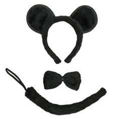 SeasonsTrading Black Mouse Ears, Tail, & Bow Tie Costume Set ~ Halloween Costume Kit. $10
