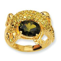 Gold-plated Sterling Silver Green CZ Lizard Ring Size 6
