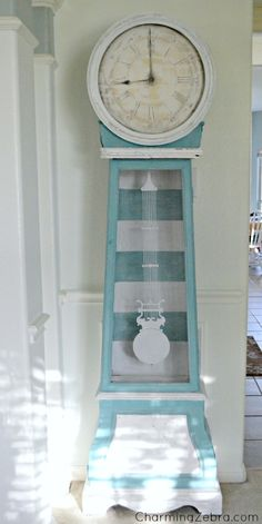 Fun idea to liven up an old grandfather clock Finley Lake, N. sells the large… Decor, Coastal Decor, Redo Furniture, Painted Furniture, Clock, Beach House Decor, Cottage Decor, Grandfather Clock, Grandmother Clock