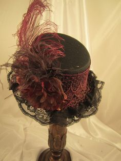 Small Black Riding Top Hat Gothic Raven Victorian   #EMILYWAYHATS #STEAMPUNK