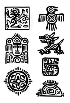 Items similar to Maya Aztec Set – Temporary tattoos (Choose your fav) on Etsy - tattoo tatuagem Arte Tribal, Aztec Art, Aztec Symbols, Celtic Symbols, Egyptian Symbols, Ancient Symbols, Mandala Mural, Initial Tattoo, Mexican Art
