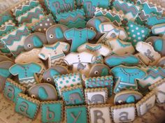 Teal, grey and white baby shower cookies