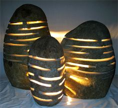 Garden Lights Hand Crafted From Real River Rocks.  From Impact Imports - Located in Boise, Idaho & Philadelphia, Pennsylvania