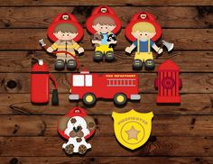 Fireman cupcake topper fire fighter by MyHeartnSoulBoutique