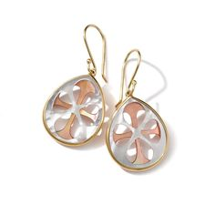18K Gold Polished Rock Candy Small Teardrop Earrings-Brown Shell, in Mother-of-Pearl, by Ippolita
