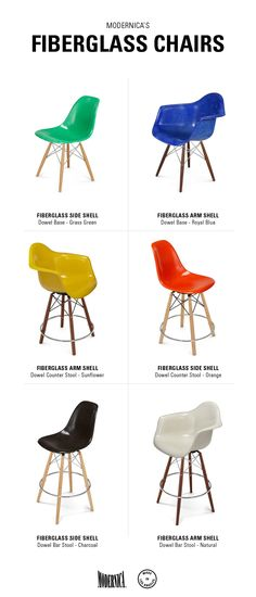 Modernica Fiberglass Shell Chairs on Dowel bases | stool chairs in various heights and colors