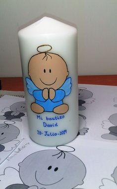 Vela de bautizo pintada a mano y personalizada