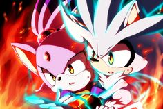 Silver the Hedgehog and Blaze the Cat.
