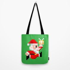 8-bit Christmas: Santa Claus Reusable Tote Bag. Because Santa beats Mario's High Score every year! (8bit art, graphics, pixels, retro gamer, video games, lol, funny, xmas, vintage, gift ideas)