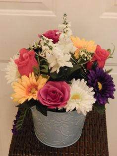 Flower arrangement, Silk Floral Centerpiece, Artifical Flowers, Roses, Hollyhocks and Gerbera Daisies in Blue Planter