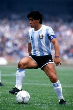 6f7802e24 Diego Maradona controls the ball during a friendly match for Argentina in  1989.