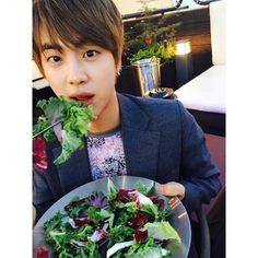 "BTS Tweet - Jin (selca) 150603 -- 풀 먹는 석진 -- [TRANS] ""Seokjin eating... ❤ liked on Polyvore featuring bts"