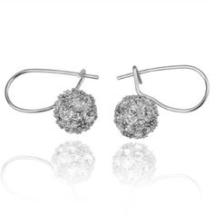 18K White Gold Plated Small Crystal Ball Drop Earrings