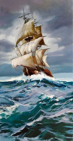 Sailing ship, oil painting by Beata Musial-Tomaszewska. - Sailing ship, oil painting by Beata Musial-Tomaszewska. Boat Drawing, Ship Drawing, Sailboat Art, Sailboat Painting, Ship Paintings, Seascape Paintings, Segel Tattoo, Composition Photo, Sailing Tattoo