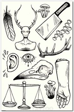 Another flash tattoo inspired illustration. Again these elements have been inspired by the mystic motifs of alchemy. The illustrations are unified through the style by using bold lines to create shading Tattoo Sketches, Tattoo Drawings, Art Drawings, Creepy Drawings, Flash Art, Tatoo Art, Body Art Tattoos, Mens Tattoos, Arm Tattoos