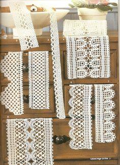 Crochet and arts: edges Crochet Lace Edging, Crochet Borders, Crochet Doilies, Crochet Hook Sizes, Crochet Hooks, Vintage Crochet Patterns, Tips And Tricks, Crochet Decoration, Lace Table