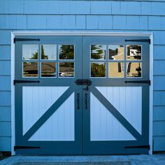 We build personalized, handcrafted, beautiful garage and carriage doors! Sliding Garage Doors, Custom Garage Doors, Wooden Garage Doors, Custom Garages, Entry Doors, Carriage Doors, House Doors, Folding Doors, Blue Walls