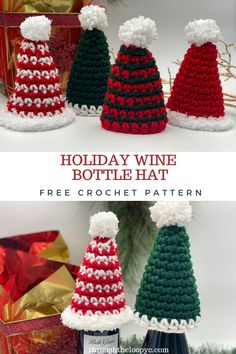 Make the perfect accessory to your wine gifts or your holiday table scape with a quick and easy Holiday Wine Bottle Hat Free Crochet Pattern