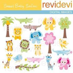 Jungle clip art  Sweet Baby Safari 07198  Digital by revidevi