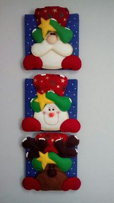 Santa, nieve y reno Felt Christmas Decorations, Diy Christmas Tree, Christmas Candy, Kids Christmas, Christmas Stockings, Xmas, Christmas Ornaments, Looney Tunes Bugs Bunny, Ornament Tutorial