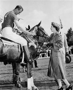 Princess Elizabeth presents a souvenir medal to her husband after his polo team lost in Rome, Italy in April, Philip was an accomplished horseman who later turned to the sport of carriage-driving. Die Queen, Hm The Queen, Royal Queen, Her Majesty The Queen, Royal Princess, Princess Diana, Elizabeth Philip, Queen Elizabeth Ii, Princess Elizabeth