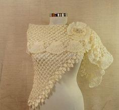 Queen of Sheba / Ivory Shawl Crochet Wedding Shawl Bridesmaid Ruffle Bridal Wrap Shrug Bolero Crochet Shawl By Lilithist. $145.00, via Etsy.