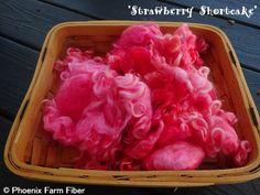 Hand Dyed Mixed Locks in Strawberry Shortcake by PhoenixFarmFiber