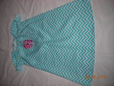 Child's Blue Chevron Print Peasant Dress with by 5SewingSisters, $29.00