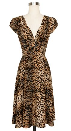 The Trashy Diva 1940's Dress in Leopard 16 worn once by previous owner then dry cleaned. I wore it for a couple hours not dry cleaned yet $125