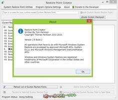 Restore Point Creator 2.9 Build 2   Restore Point Creator--About--オールフリーソフト