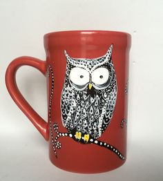 Hand painted Owl Mug available now at http://www.etsy.com/shop/inkydreamz