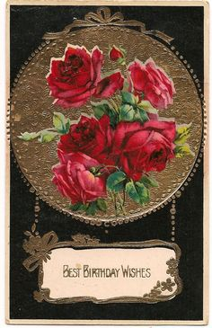 Victorian Birthday Wishes Postcard w/ Roses  by pecanhillantiques, $3.99