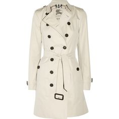 Burberry London Mid-length cotton-twill trench coat ($1,370) ❤ liked on Polyvore featuring outerwear, coats, jackets, casacos, burberry, black trenchcoat, mid length trench coat, double-breasted coat and black coat