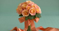 Rose Splendor in Peach ... exclusively for Weddingmoons. #roses #peach #bouquet