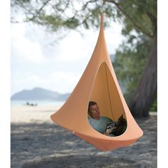 This is the hammock that cocoons its user within a private suspended sanctuary, ideal for reading, relaxing, or reflecting. Inspired by the hanging, tapering nests of weaver birds, its semi-enclosed design provides a haven for children and adults alike who enjoy solitude while engrossed in a story or replenishing the spirit. Supporting up to 440 lbs. when hung using the included 15 nylon rope and steel carabiner, it is equally at-home in a backyard, woods, beach, office, or den.
