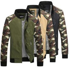 Sale 14% (39.63$) - Plus Size Mens Camouflage Spell Color Stand Collar Zipper Outdoor Jacket