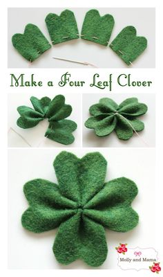 Make a simple felt four leaf clover for Saint Patrick's Day. An easy shamrock tutorial from Molly and Mama.